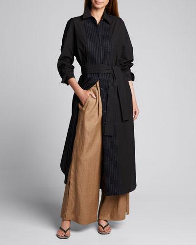 Raffia Linen Wide-Leg Crop Pants