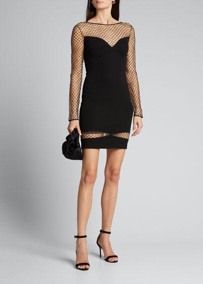 Studded Mesh Illusion Long-Sleeve Dress