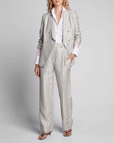 Shimmered Linen Double-Breasted Blazer Jacket