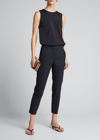 Topical Wool Straight-Leg Cropped Pants
