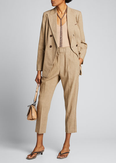 Linen Pull-On Cropped Pants