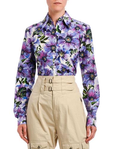 Floral-Print Poplin Shirt