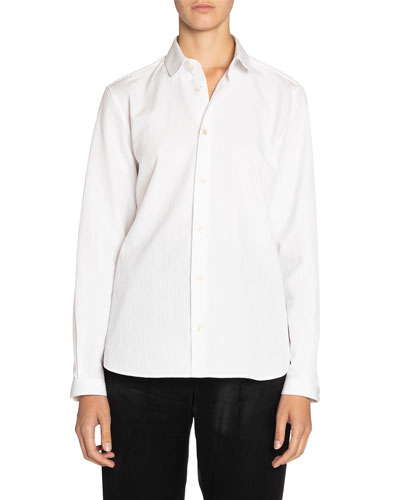 Textured Poplin Long-Sleeve Shirt
