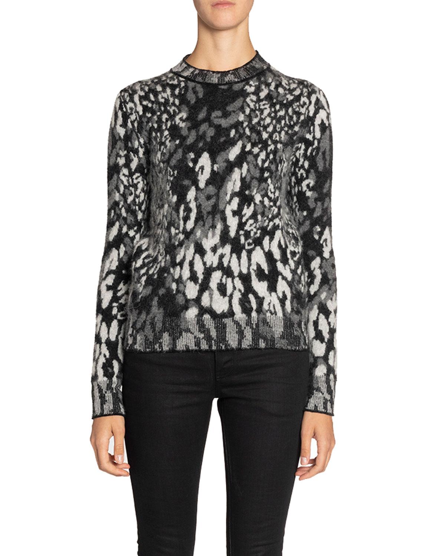 Saint Laurent Knitwear LEOPARD-JACQUARD FUZZY-KNIT CREWNECK SWEATER