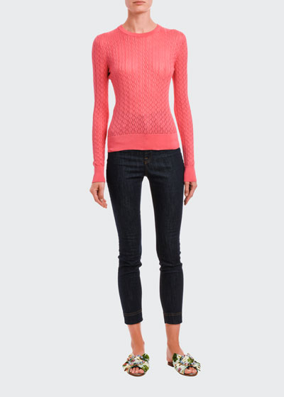 Silk Open-Weave Fitted Sweater