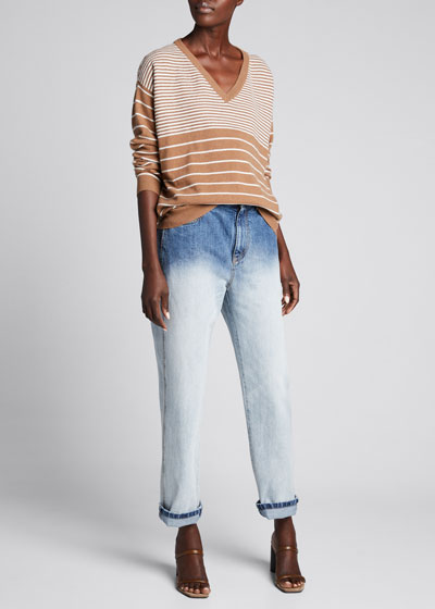 Wool-Cashmere Variegated Striped V-Neck Sweater
