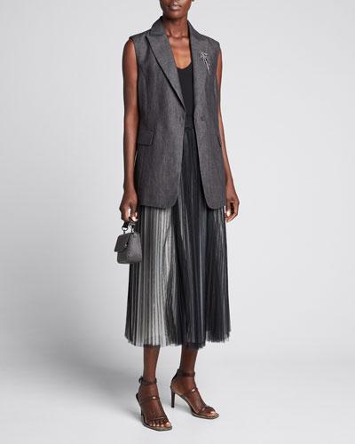 Sleeveless Lightweight Linen Blazer Vest