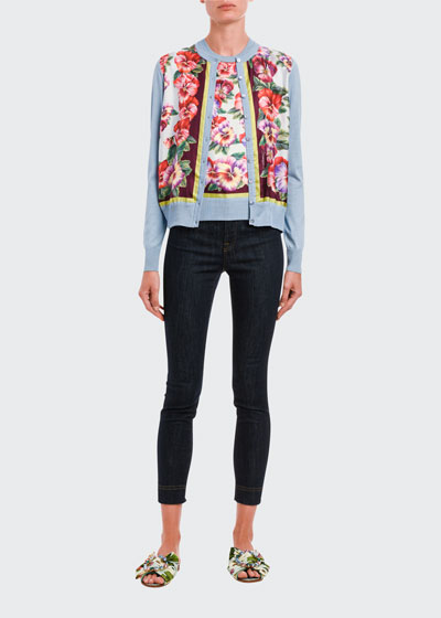 Floral-Print Silk Button-Front Cardigan