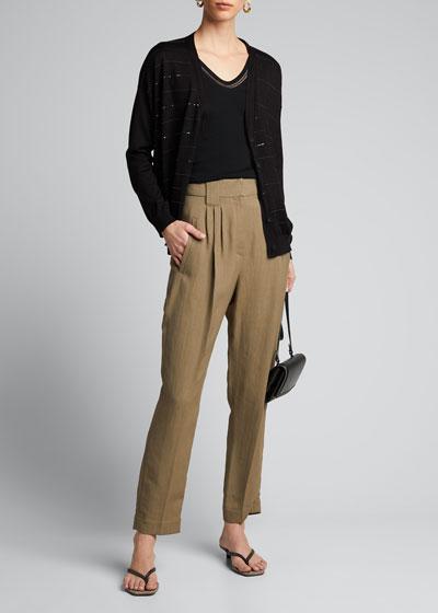 Fluid Linen Twill Pleated Pants
