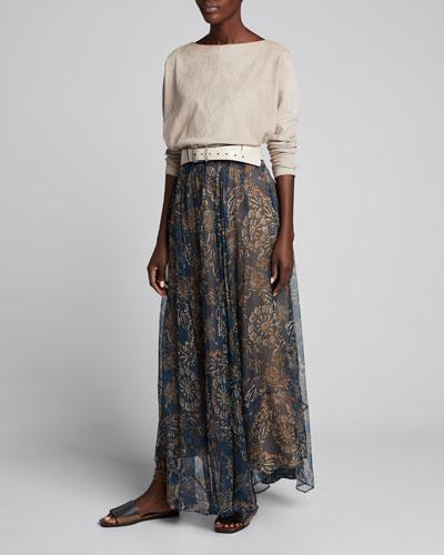 Printed Chiffon Pull-On Maxi Skirt
