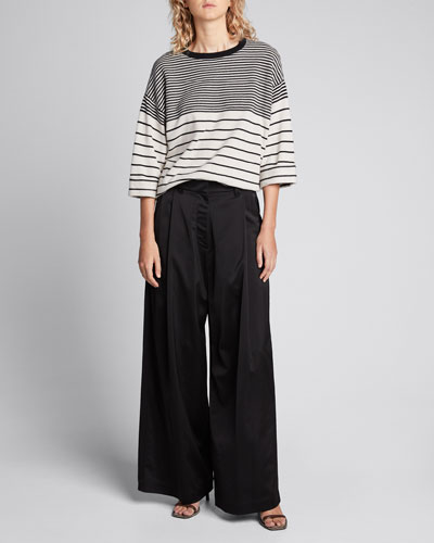 Striped Wool-Cashmere 3/4-Sleeve Sweater