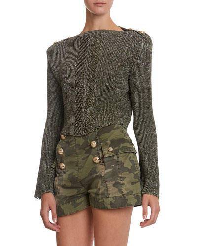 Shimmer Trumpet-Sleeve Cropped Sweater