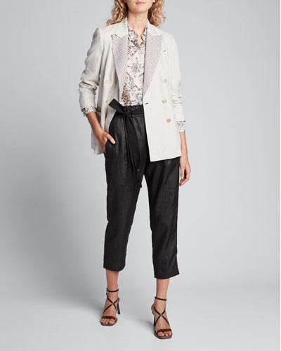Printed Silk Long-Sleeve Tunic