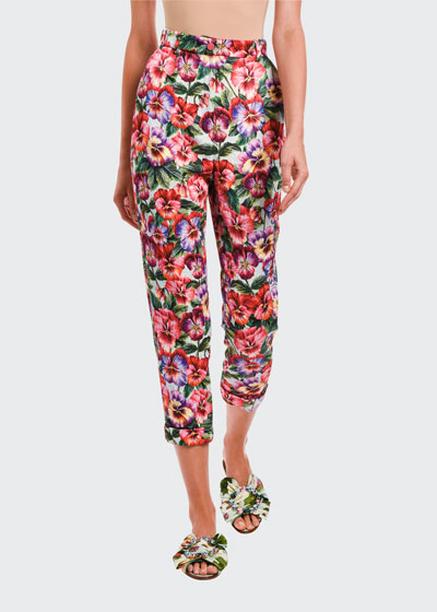 Floral Stretch Brocade Cropped Pants