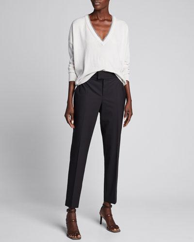 Tropical Wool Slim-Leg Ankle Pants