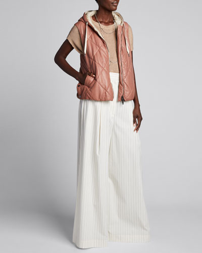Pinstripe Stretch Cotton Poplin Pleated Volume Trousers