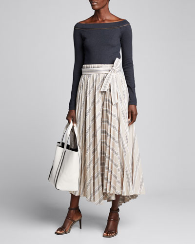 Patchwork-Striped Pleated Midi Skirt