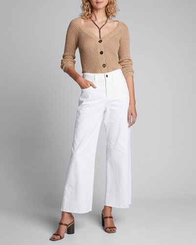 Sequined Cotton-Linen Ribbed Cardigan