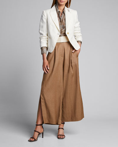 Demask Printed Silk Kimono Blouse