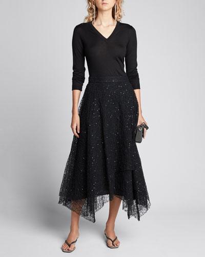 V-Neck Long-Sleeve Cashmere-Silk Pullover
