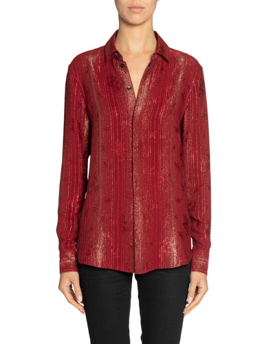 Metallic-Striped Silk Oversized Shirt