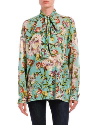 Tie-Neck Floral Georgette Button-Front Blouse