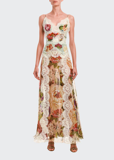 Lace-Trim Floral Print Satin Dress