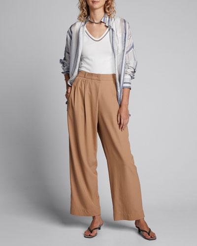 Fluid Wool-Pleated Trousers