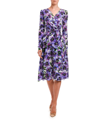 Floral Long-Sleeve Jersey Wrap Dress