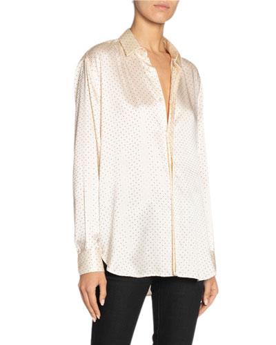 Long-Sleeve Silk Satin Tie-Hem Shirt