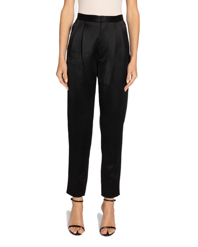Satin High-Rise Skinny Trousers