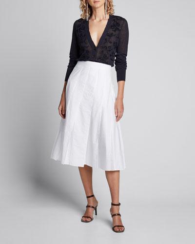 Techno Cotton Poplin Multi Paneled Midi Skirt