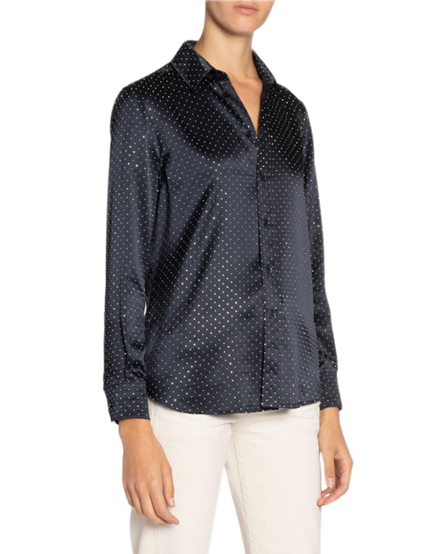 Saint Laurent T-shirts STUDDED SATIN SHIRT
