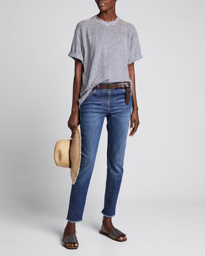 Dark-Wash Skinny Ankle Jeans