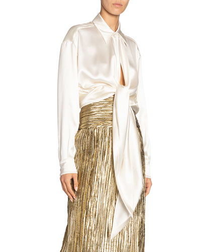 Long-Sleeve Drape Front Slim Satin Shirt