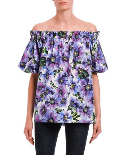 Floral Poplin Off-the-Shoulder Top