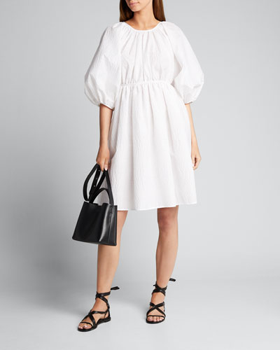 Puff-Sleeve Crewneck A-Line Dress