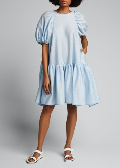 Crepe Puff-Sleeve Drop-Waist Dress
