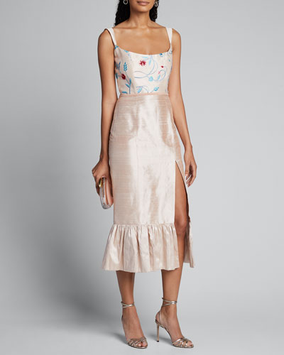 Floral Embroidered Silk Twill Ruffle Hem Dress w/ Front Slit