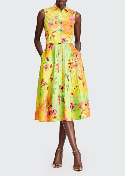 Darcy Sleeveless Floral-Print Shirtdress