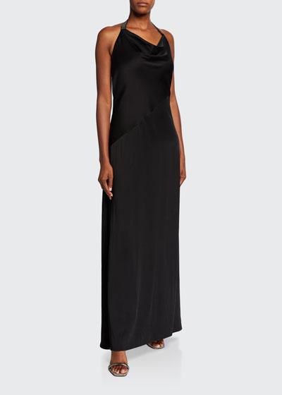 Silk Cady Cowl-Neck Halter Gown, Black