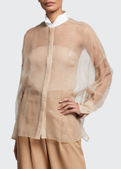 Sequined Crispy Silk Two-Piece Blouse