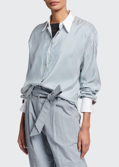 Silk-Striped Monili-Cuff Blouse