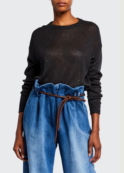 Sequined Linen-Silk Crewneck Sweater