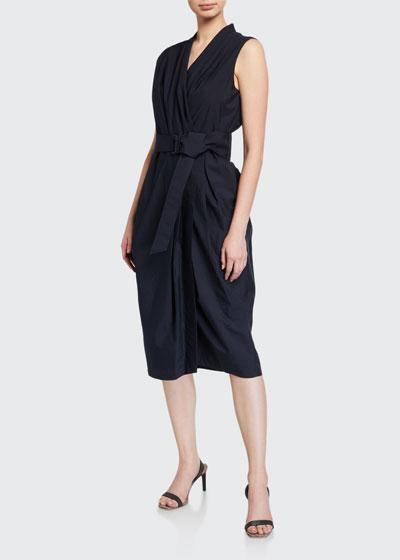 Crinkled Cotton V-Neck Midi Dress