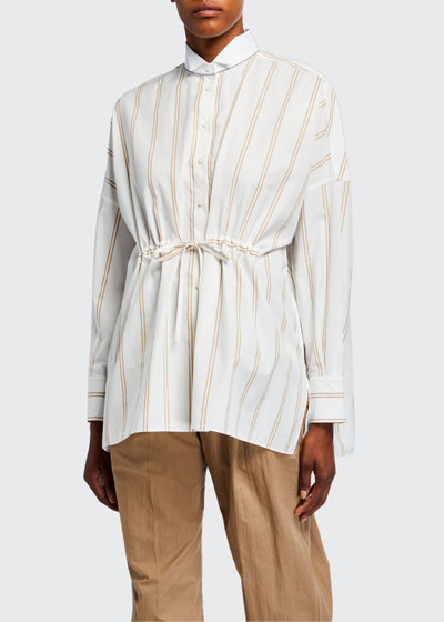 Striped Cinched-Waist Poplin Shirt