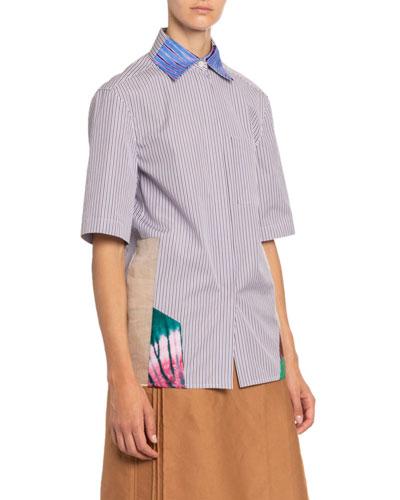 Artisanal-Patchwork Striped Short-Sleeve Shirt