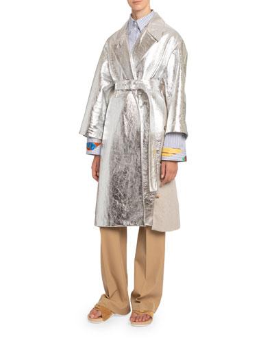 Metallic Leather Belted Coat