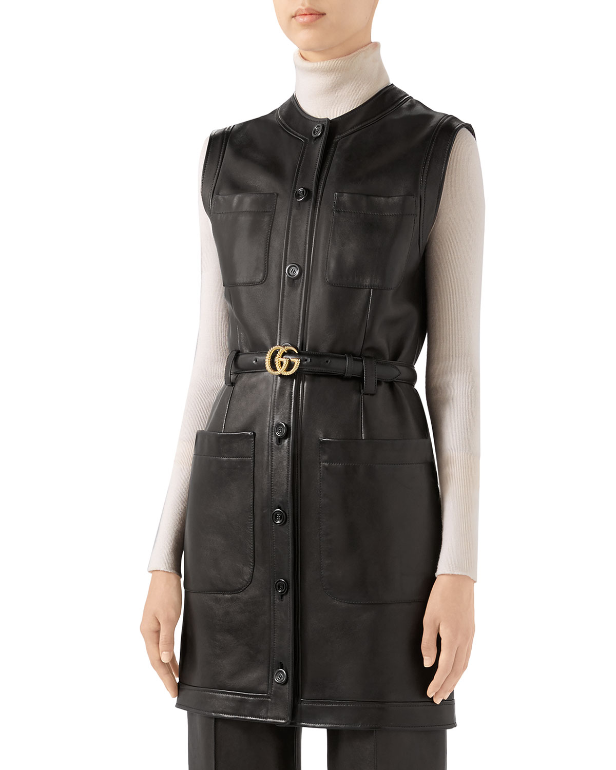Gucci Dresses LEATHER BUTTON-FRONT BELTED DRESS