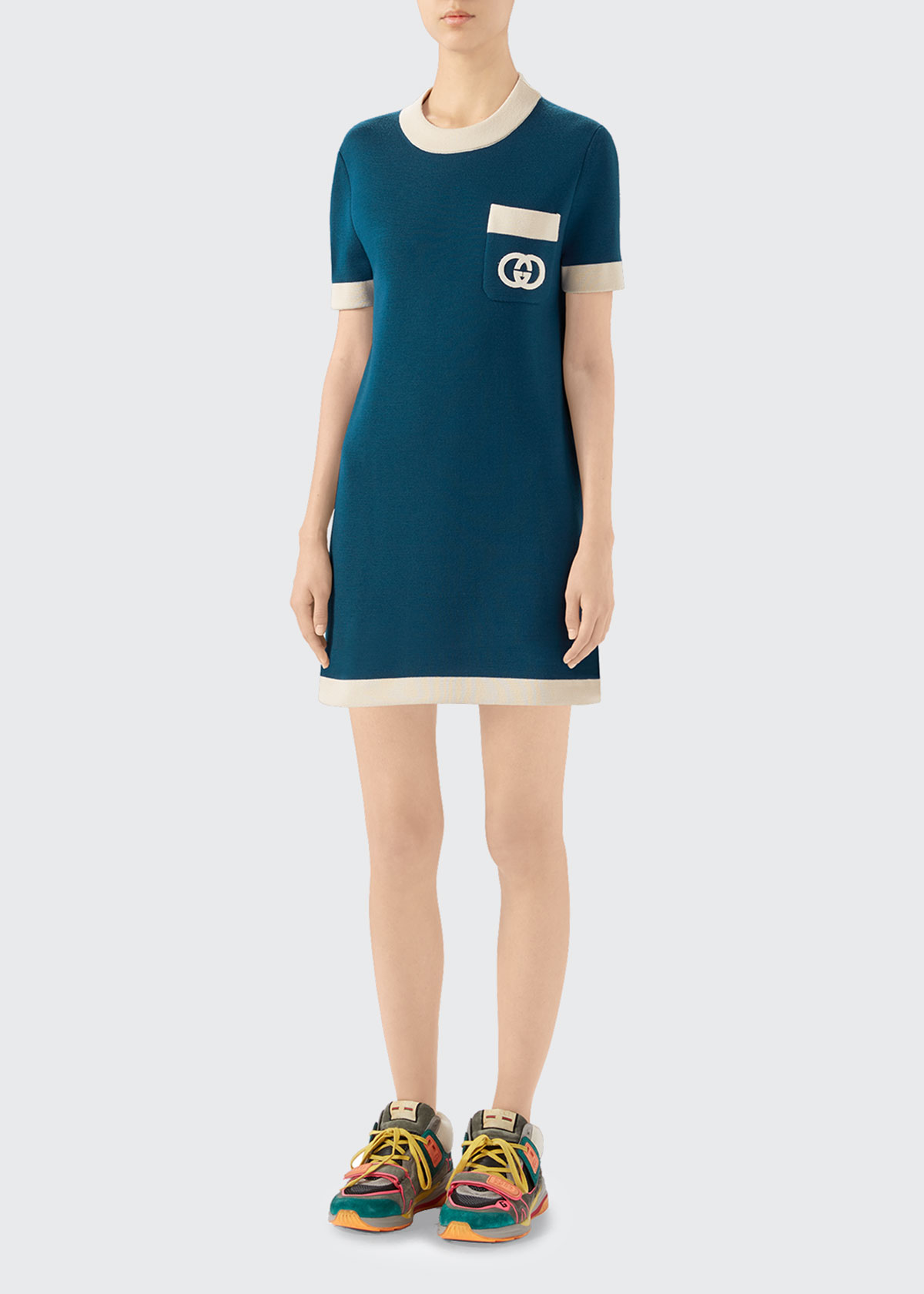 Gucci Dresses FINE WOOL SHORT-SLEEVE DRESS